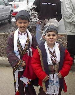 Assyrian boys in traditional Ashuria clothing