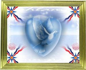 Assyrian flags at the 4 corners of a frame, around a white dove inside of a heard