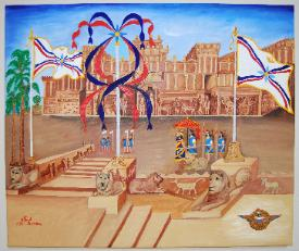 Assyrian flags in front of king's palace by Alfred Shamoon