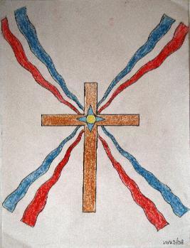 Assyrian flag at the center on a cross by Ellerum Shamoon