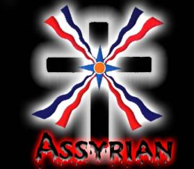 Assyrian flag at the center of a cross