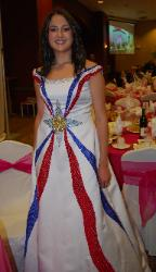 Assyrian flag dress worn at Mar Addai 60the anniversary in Turlock, California