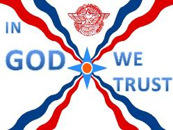Assyrian flag, IN GOD WE TRUST blue writing on to sides by An Ashuria