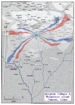 Assyrian Falg over the map of northern Ashur
