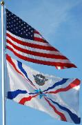 American Assyrian Flags over the blue sky of San Jose California